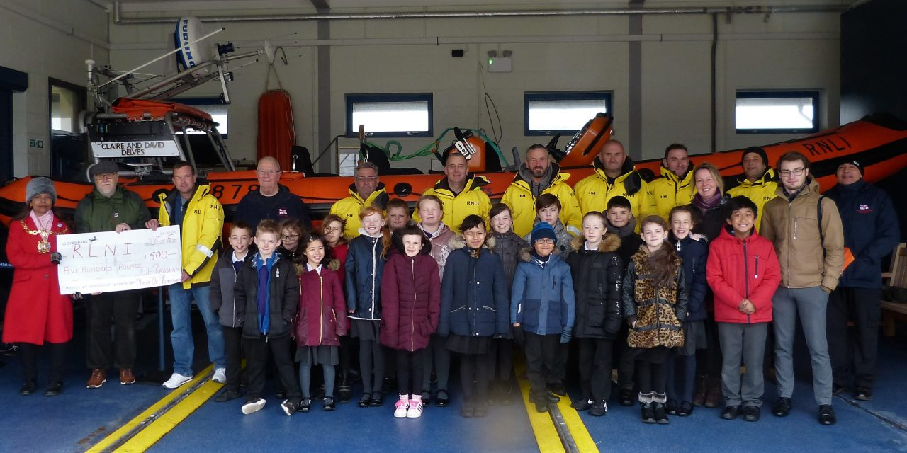 Mayor presents a cheque to the Ramsgate RNLI, coinciding with one of DJPA's educational visits to the lifeboat house.
